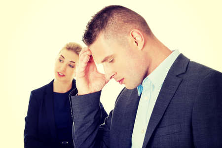 reprimand: Young beautiful businesswoman reprimend her partner Stock Photo