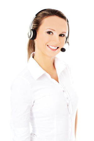 handsfree telephone: Smiling call center woman with headset