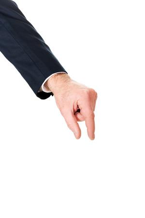 decreasing in size: Imprenditore mano mostrando piccole dimensioni con le dita.