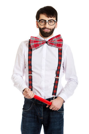 suspenders: Funny man wearing suspenders pointing with big pencil. Stock Photo