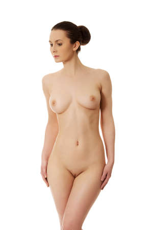 nude body: Beautiful caucasian woman with naked breast. Stock Photo