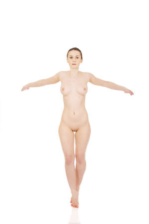 naked female: Beautiful nude woman in drawing pose. Stock Photo