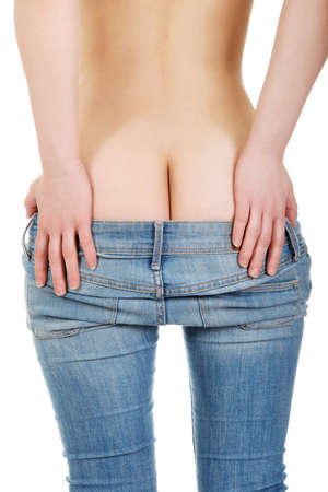 nude female buttocks: Sexy woman showing her buttocks in jeans.