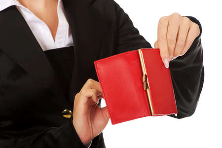 empty wallet: Young woman shows her empty wallet. Bankruptcy concept.