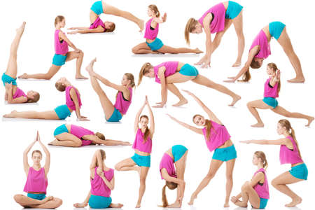 loss weight: Young caucasian woman is doing exercises, wearing sportswear.