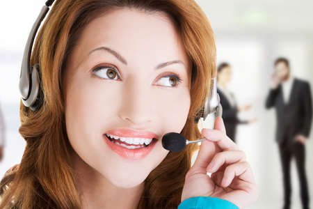 call center people in isolated: Call center woman close up portrait