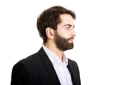male face profile: Profile picture of handsome businessman. Stock Photo