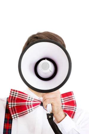 suspenders: Funny man wearing suspenders shouting with megaphone. Stock Photo
