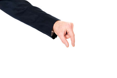 decreasing in size: Businessman hand showing small size with fingers.