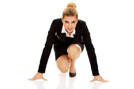 Geschäftsfrau immer bereit für den Wettbewerb. Lizenzfreie Bilder