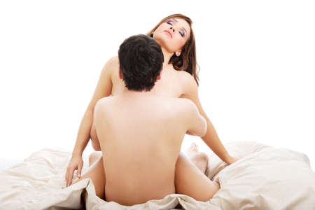 romance sex: Couple in bed with sex and affection. Love and eroticism in bedroom.