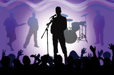 band stage: rock concert, vector drawing Stock Photo