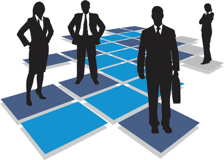 business people standing on tiles, vector drawing