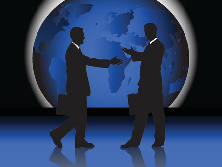 2 men handshaking in front of world map, vector drawing Illustration