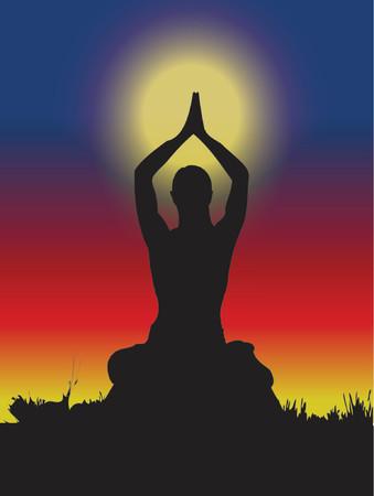 chakras: mujer haciendo yoga, medio natural, espiritual  Vectores
