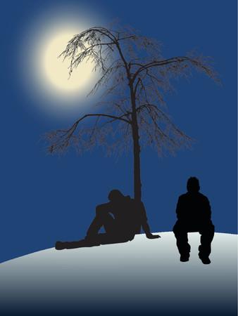 alone and sad: 2 adolescentes sentados debajo de un �rbol con la luz de la luna