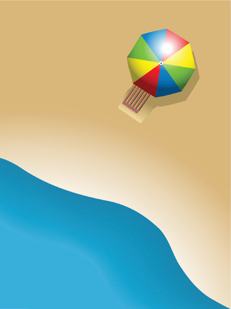 sun bed: colorful umbrella on a nice beach, holiday concept