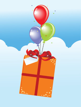 labeled package with ribbon flying over the blue sky with birthday balloons
