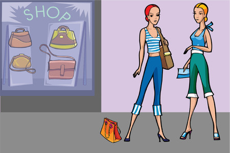 2 modern women shopping for bags in a store Stock Vector - 685926