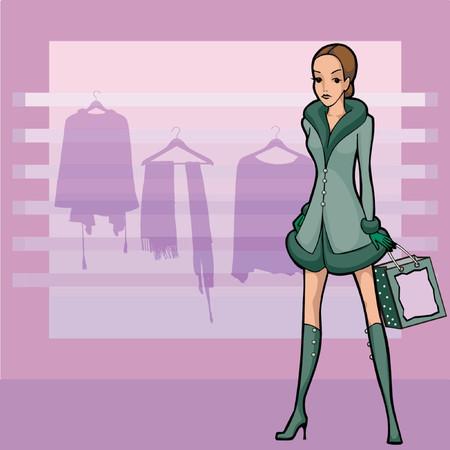 newyear: una mujer joven de compras de ropa, tiendas newyear
