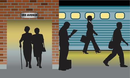 estación del metro: siluetas de personas de pie, caminando en la estaci�n de metro