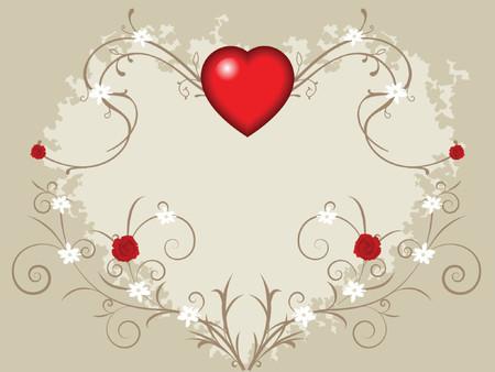 flores peque�as: fondo del valentine con el coraz�n grande, las rosas y las flores peque�as en vides