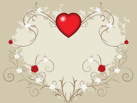 small flowers: valentine background with big heart, roses and small flowers on vines Illustration