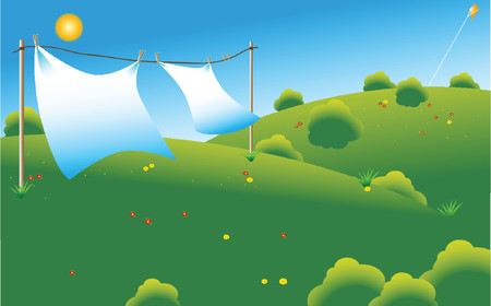 couple of linen sheets drying under sun at a green field Illustration