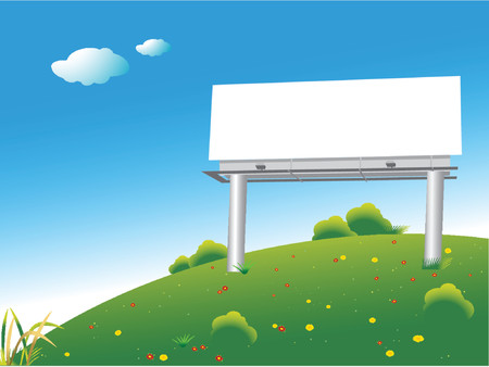 Blank billboard on a green hill over blue sky Illustration