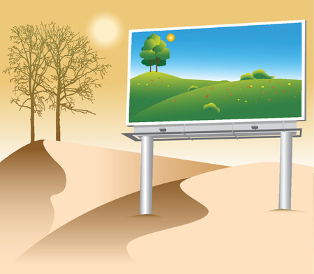 billboard with a green natural poster on deserted land Stock Vector - 707266