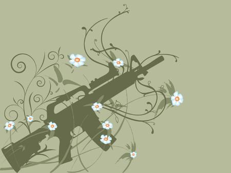 peace concept: Silhouette of a gun on flower vines, peace concept