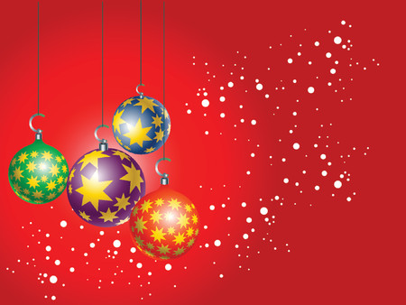 christmasball: four Christmas tree ornament hanging over red background