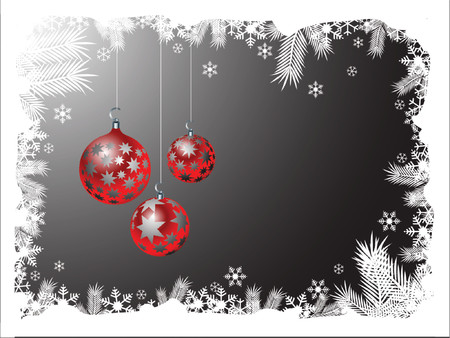 Three christmas ornaments hanging from snowy frame Stock Vector - 714067