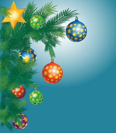 christmas tree with colorful ornaments over blue background Illustration