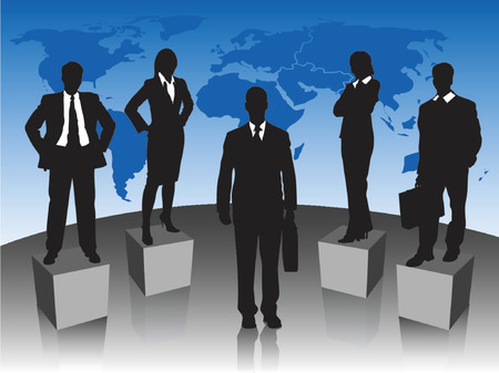 Silhouettes of business people standing in front of a world map