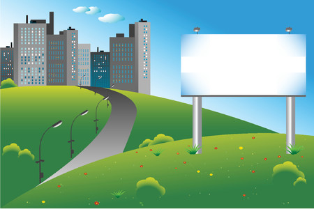 Blank billboard on a green field, city on the background Stock Vector - 722454