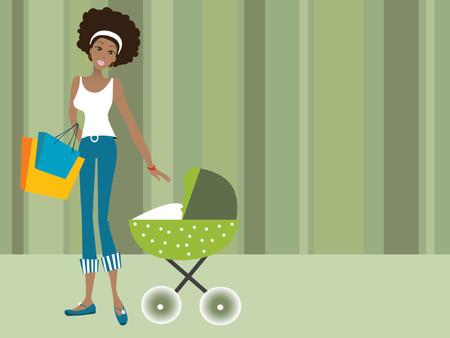 familia parque: Negro mujer con bolsas de la compra con su