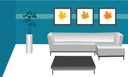 interior decoration: illustration of a contemporary modern style room Illustration