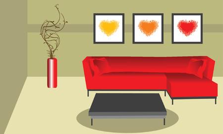 interior decorating: illustrazione di una camera in stile funky