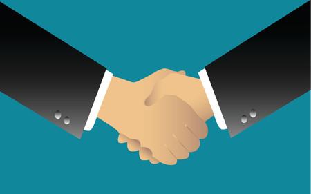 negotiating: illustration of two businessmen handshaking over blue background