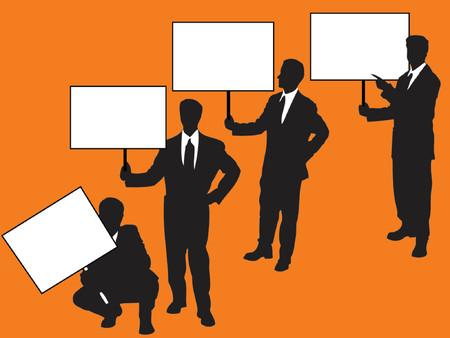 businessteam: businessmen holding blank signs over orange background
