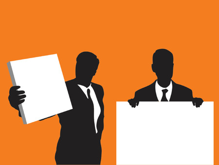 holding notes: businessmen holding blank signs over orange background