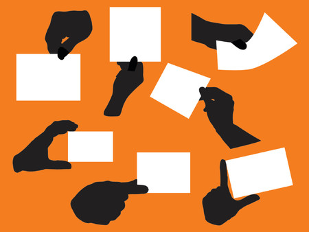 variety of hand silhouettes holding blank papers Illustration
