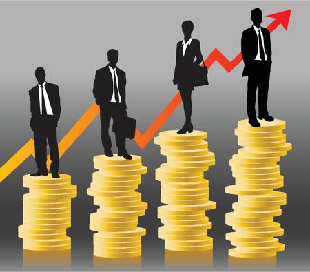 sales executive: businessteam de pie en monedas delante de �xito gr�fico