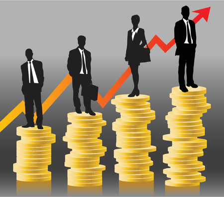 stockmarket: businessteam standing on coins in front of successful chart