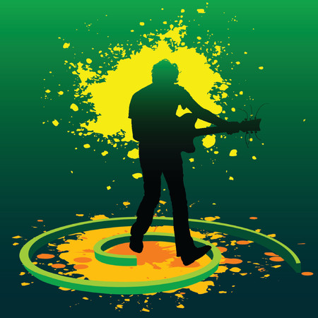 splashed: silhouette of a guitarist playing guitar in splashed paints