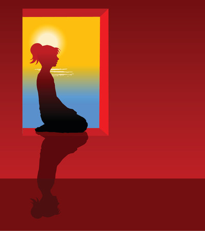 silhouette of a woman sitting by the window with relaxing view Vector