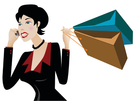 Businesswoman talking on the cellphone with shopping bags Vector