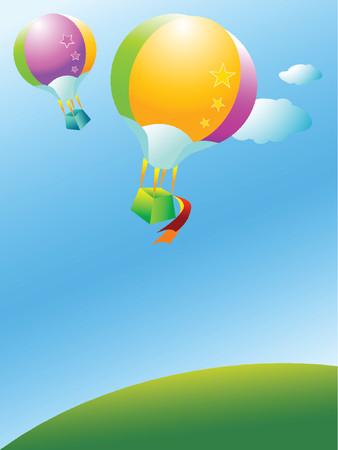 Two colorful balloon flying over a green hill
