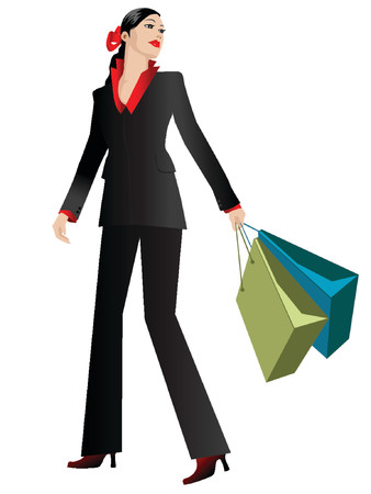 purchasing manager: illustration of a businesswoman carrying shopping bags Illustration